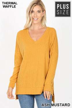 PLUS BRUSHED THERMAL WAFFLE V-NECK SWEATER HI-LOW HEM - Zenana Outfitters Women's Clothing