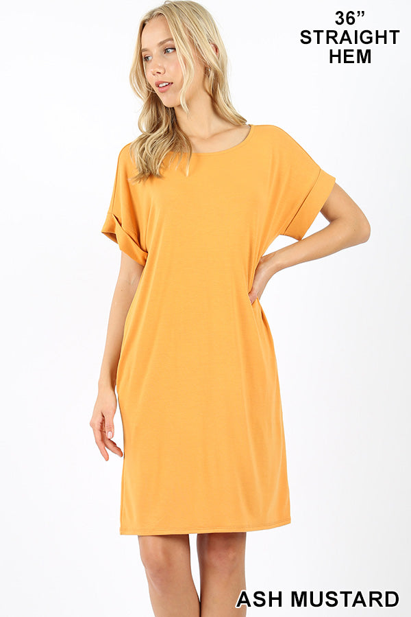 PLUS PREMIUM ROLLED SHORT SLEEVE ROUND NECK DRESS - Zenana Outfitters Women's Clothing