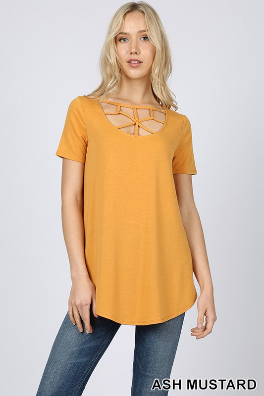 SHORT SLEEVE WEB DETAIL FRONT ROUND HEM TOP