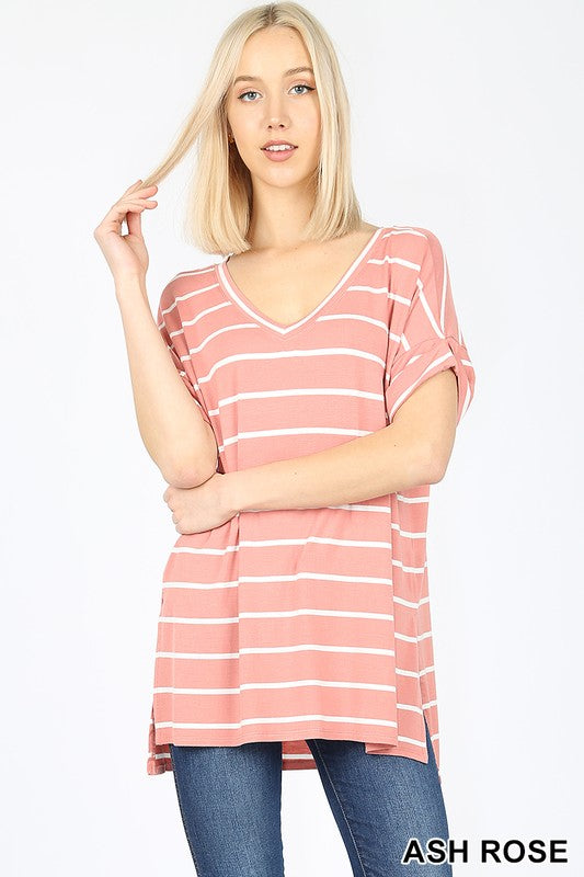 STRIPE ROLLED SHORT SLEEVE SIDE SLIT HIGH-LOW HEM - Zenana Outfitters Women's Clothing