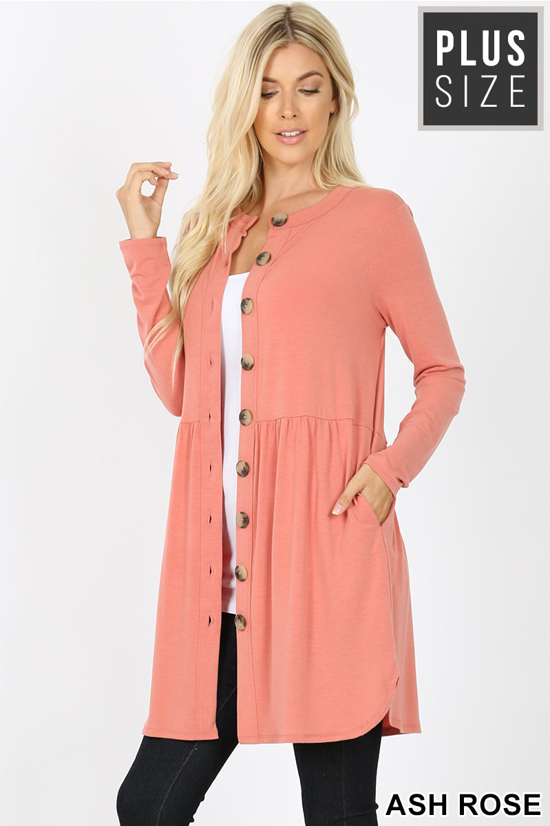 PLUS SHIRRED WAIST BUTTONED CARDIGAN - Zenana Outfitters Women's Clothing