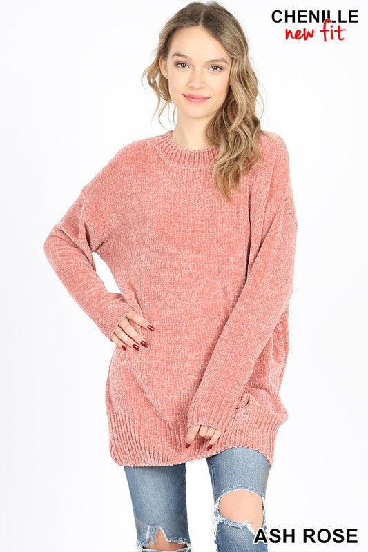ROUND NECK LONG SLEEVE CHENILLE SWEATER - Zenana Outfitters Women's Clothing