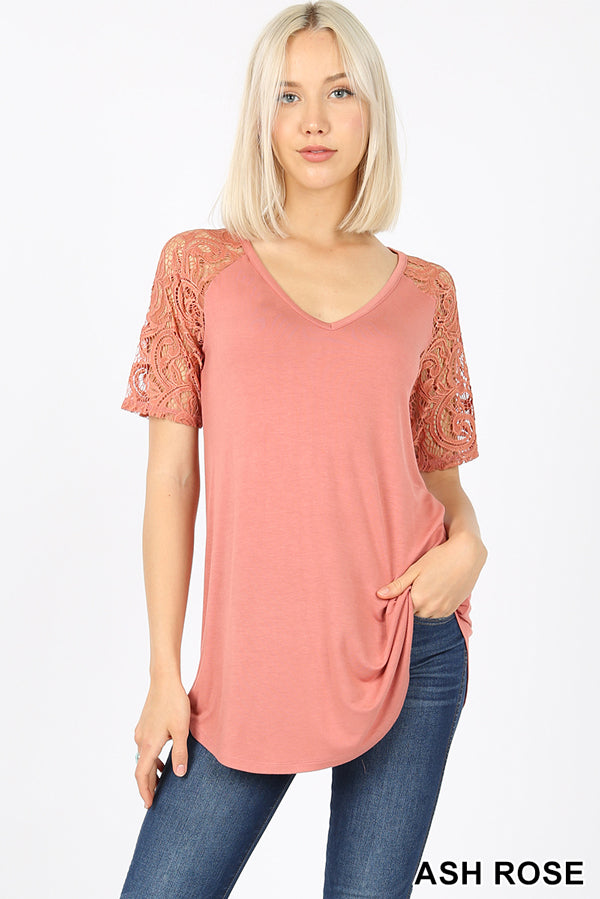 PREMIUM RAYON LACE SHORT SLEEVE V NECK ROUND HEM - Zenana Outfitters Women's Clothing