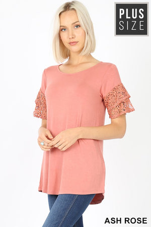 PLUS LUXE RAYON 2 TIERED RUFFLE LACE SLEEVES TOP - Zenana Outfitters Women's Clothing