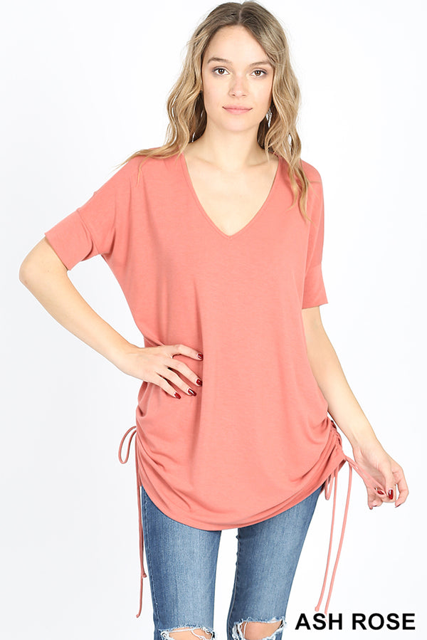 PREMIUM SHORT SLEEVE V-NECK SIDE RUCHED TOP - Zenana Outfitters Women's Clothing