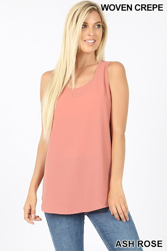WOVEN CREPE SLEEVELESS ROUND NECK ROUND HEM TOP - Zenana Outfitters Women's Clothing