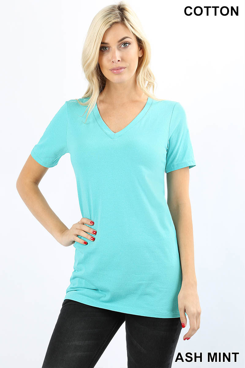 COTTON V-NECK SHORT SLEEVE T-SHIRTS