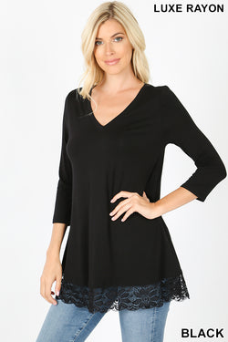 LUXE RAYON 3/4 SLEEVE V-NECK LACE TRIM HEM TUNIC TOP - Zenana Outfitters Women's Clothing