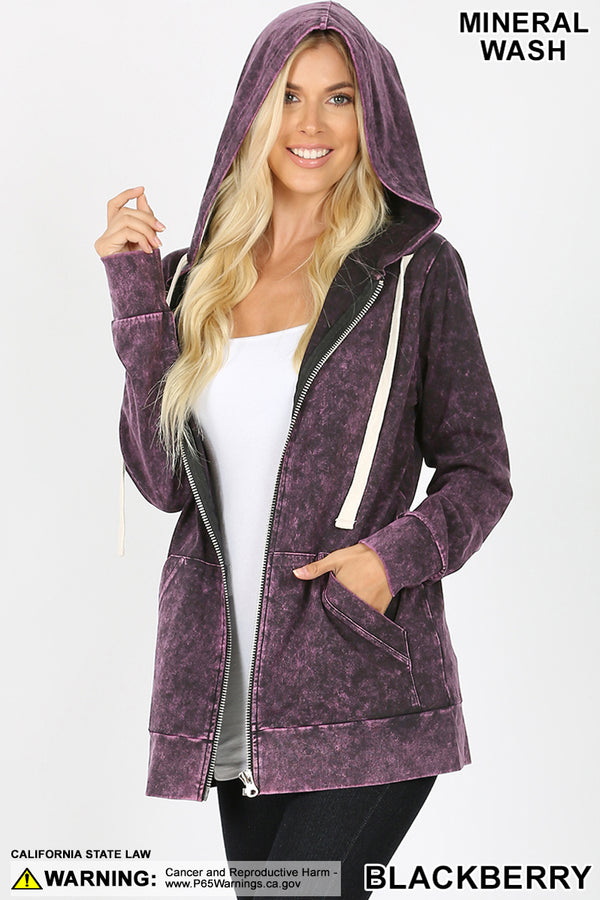 MINERAL WASH ZIPPERS HOODIE JACKET | Zenana Outfitters