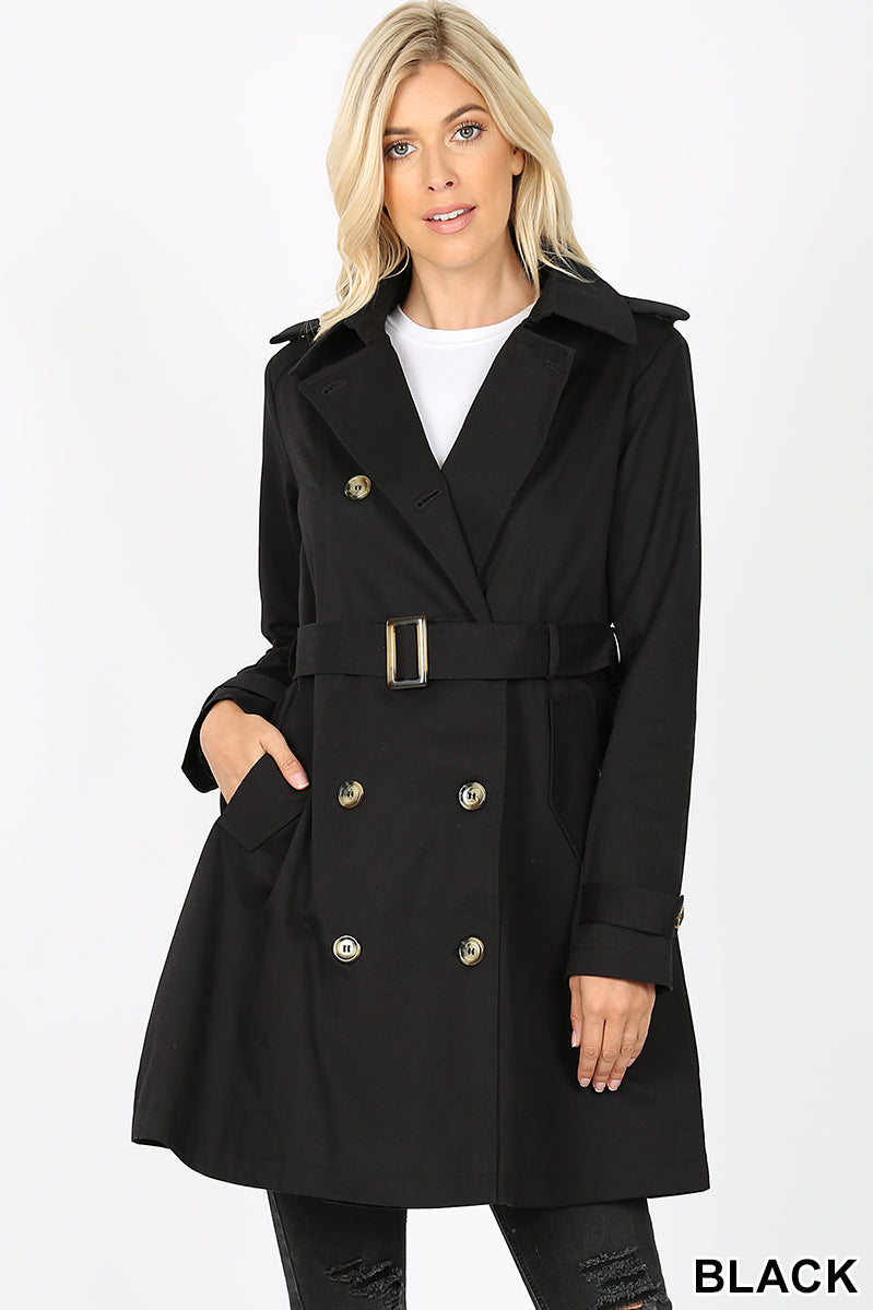DOUBLE BREASTED THIGH LENGTH TRENCH COAT - Zenana Outfitters Women's Clothing