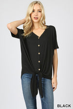 SHORT SLEEVE BUTTON DOWN TIE FRONT TOP - Zenana Outfitters Women's Clothing