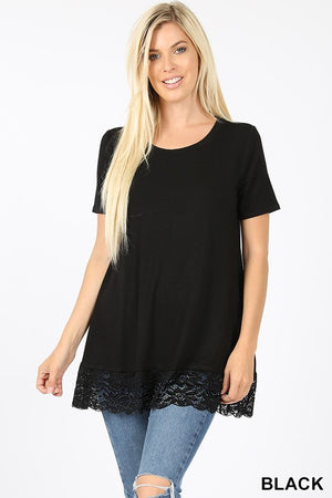 PREMIUM SHORT SLEEVE LACE BOTTOM  TOP - Zenana Outfitters Women's Clothing