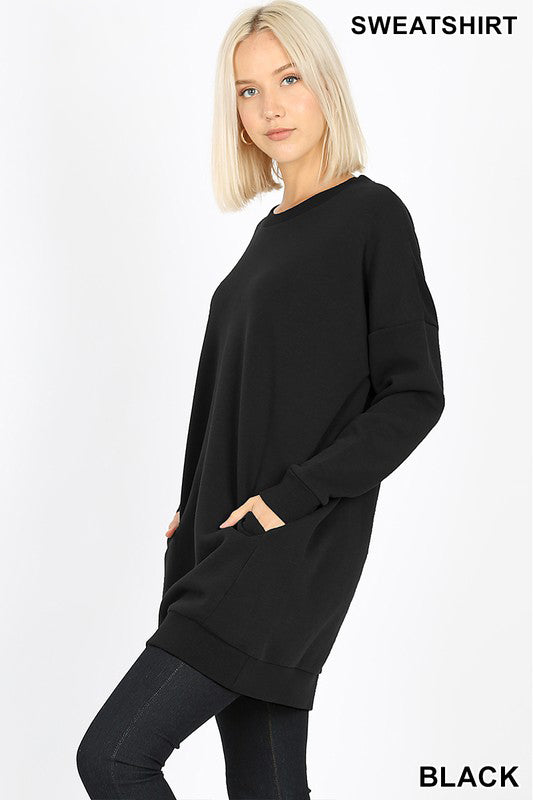 OVERSIZED ROUND NECK TUNIC SWEATSHIRTS - Zenana Outfitters Women's Clothing