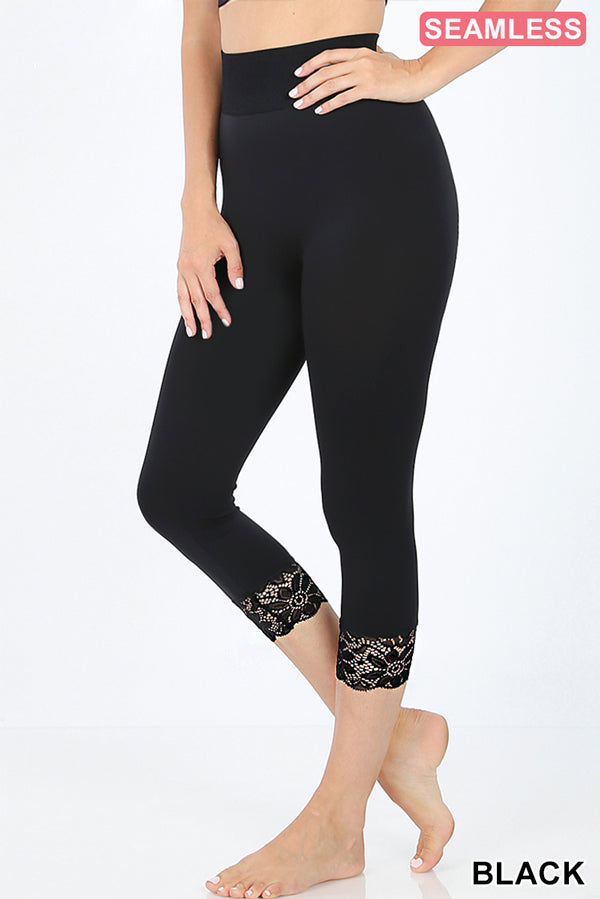 SEAMLESS CAPRI LEGGINGS WITH LACE DETAIL BOTTOM - Zenana Outfitters Women's Clothing