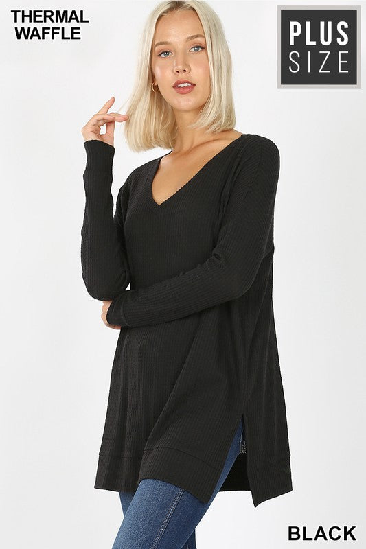 PLUS BRUSHED THERMAL WAFFLE V-NECK SWEATER - Zenana Outfitters Women's Clothing