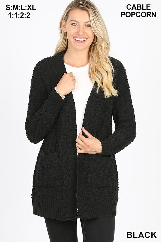 CABLE POPCORN SWEATER CARDIGAN WITH POCKETS - Zenana Outfitters Women's Clothing