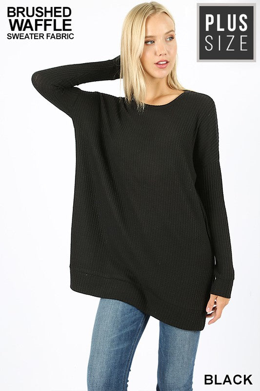 PLUS BRUSHED THERMAL WAFFLE ROUND NECK SWEATER
