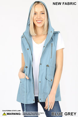 LOOSE FIT DRAWSTRING WAIST MILITARY HOODIE VEST - Zenana Outfitters Women's Clothing