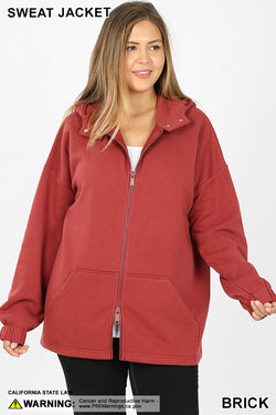 PLUS 2 WAY ZIPPERS HOODIE JACKET KANGAROO POCKETS - Zenana Outfitters Women's Clothing