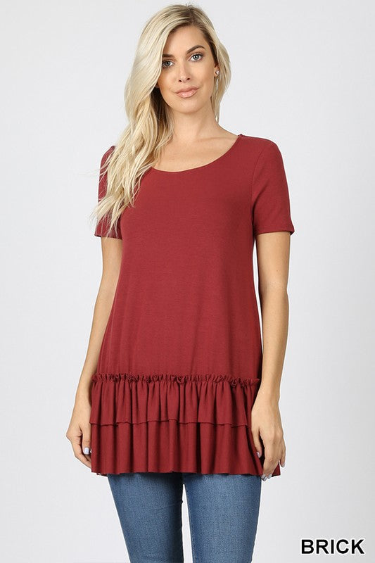 SHORT SLEEVE ROUND NECK RUFFLE BOTTOM TOP