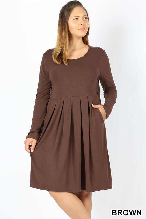 PLUS PREMIUM PLEATED WAIST LONG SLEEVE DRESS