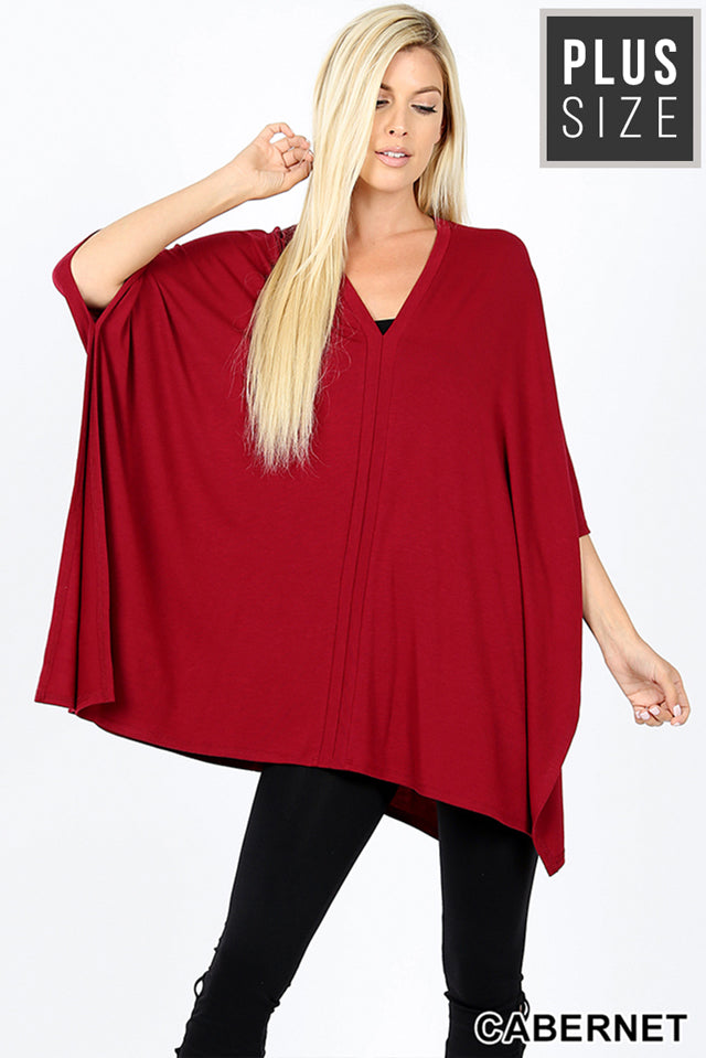 PLUS PREMIUM OVERSIZE V NECK CENTER BAND PONCHO - Zenana Outfitters Women's Clothing