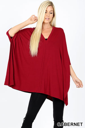 PREMIUM OVERSIZE V NECK CENTER BAND DETAIL PONCHO - Zenana Outfitters Women's Clothing