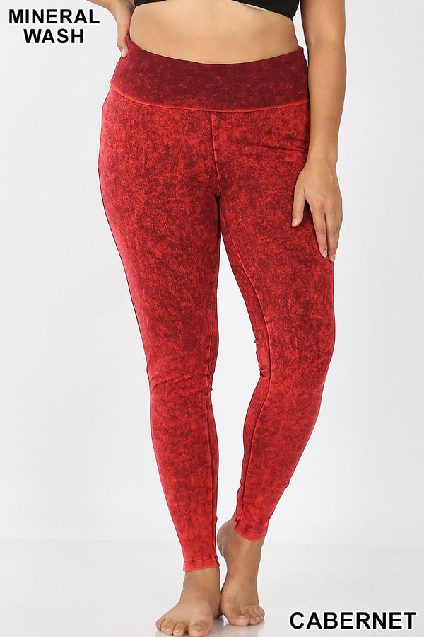 PLUS MINERAL WASHED FOLD-OVER WAIST YOGA LEGGINGS - Zenana Outfitters Women's Clothing