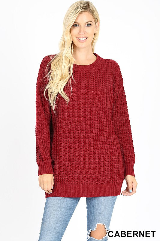 LONG SLEEVE ROUND NECK HEAVY SWEATER - Zenana Outfitters Women's Clothing