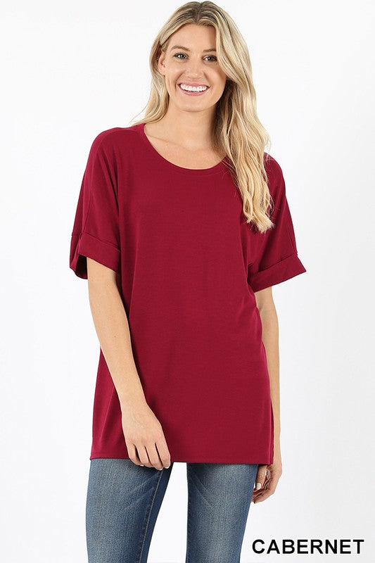 ROLLED SLEEVE SIDE SLIT HIGH-LOW HEM