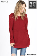 PLUS HI-LOW LONG SLEEVE ROUND NECK WAFFLE SWEATER - Zenana Outfitters Women's Clothing