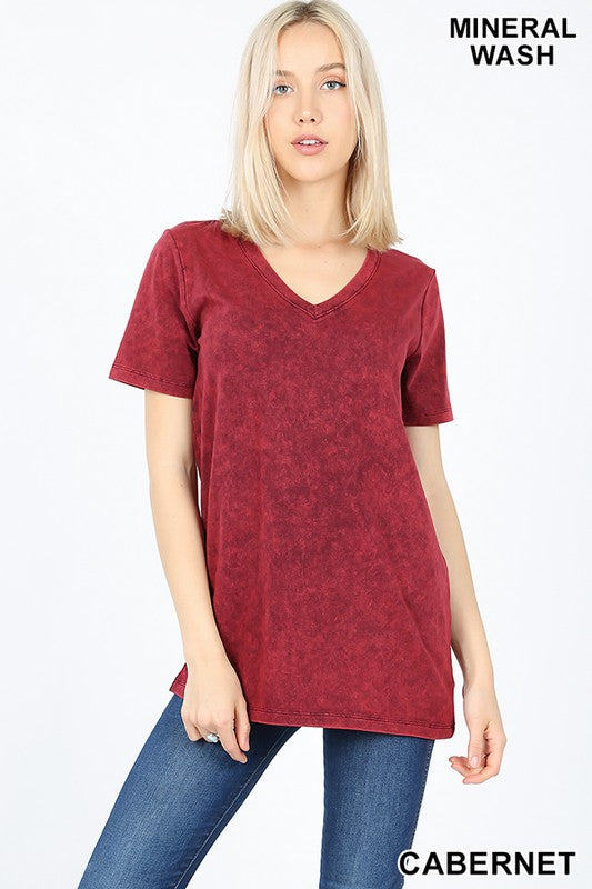 MINERAL WASHED SHORT SLEEVE V-NECK TOP - Zenana Outfitters Women's Clothing