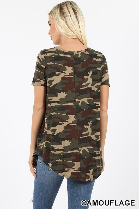 CAMOUFLAGE PRINT ROUND NECK & HEM TOP - Zenana Outfitters Women's Clothing