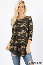 CAMOUFLAGE PRINT 3/4 SLEEVE ROUND NECK & HEM TOP - Zenana Outfitters Women's Clothing
