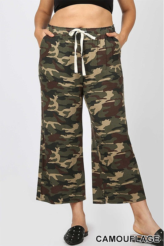 PLUS CAMOUFLAGE CROPPED LOUNGE PANT | Zenana Outfitters