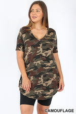 PLUS CAMOUFLAGE PRINT V-NECK ROUND HEM TOP - Zenana Outfitters Women's Clothing