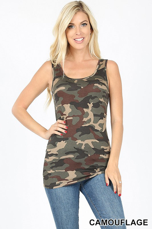 CAMOUFLAGE PRINT SCOOP NECK TANK TOP - Zenana Outfitters Women's Clothing