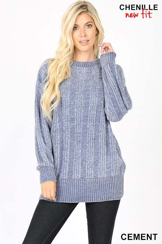 CABLE KNIT ROUND NECK CHENILLE SWEATER - Zenana Outfitters Women's Clothing