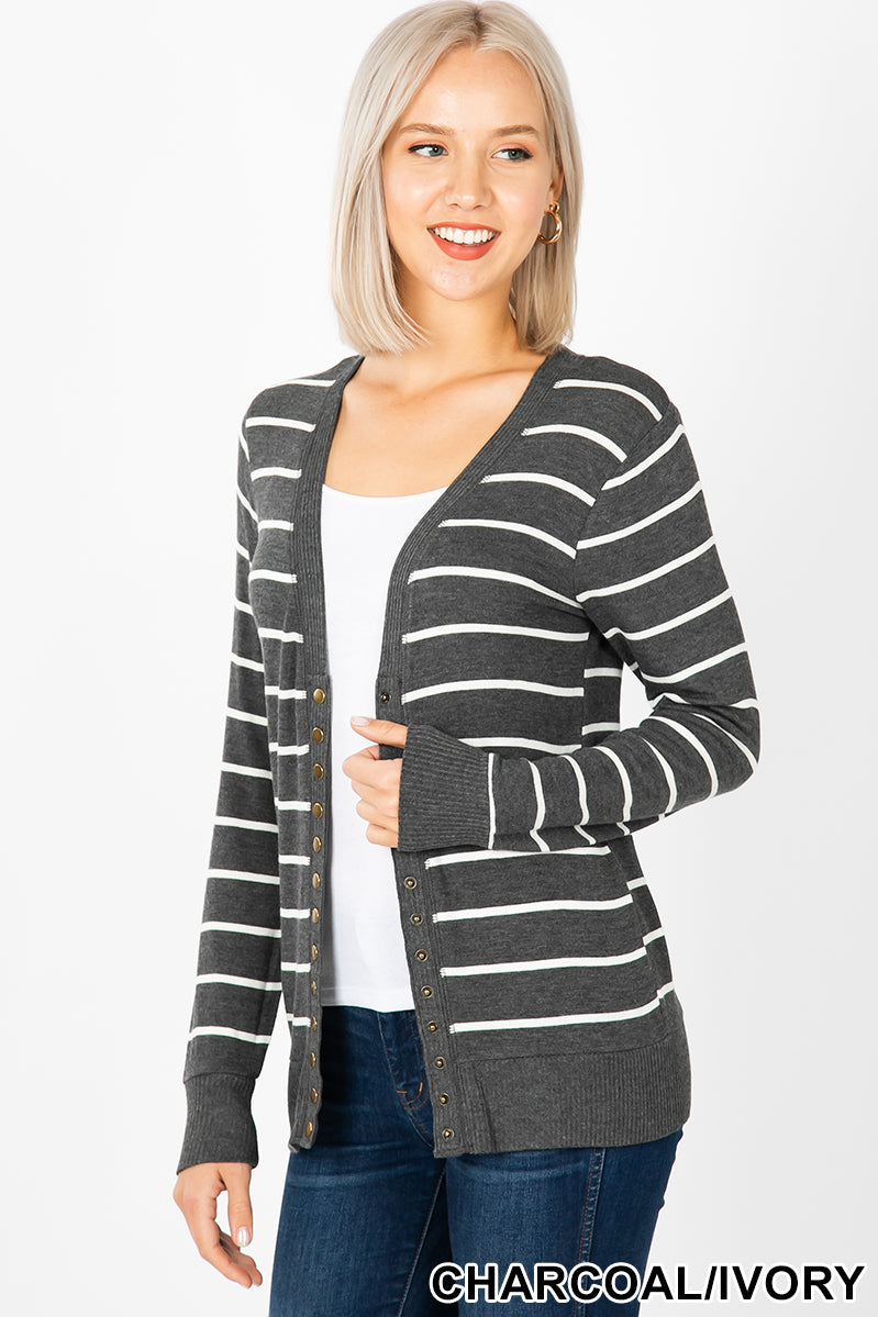 STRIPED STUDDED CARDIGAN SWEATER - Zenana Outfitters Women's Clothing