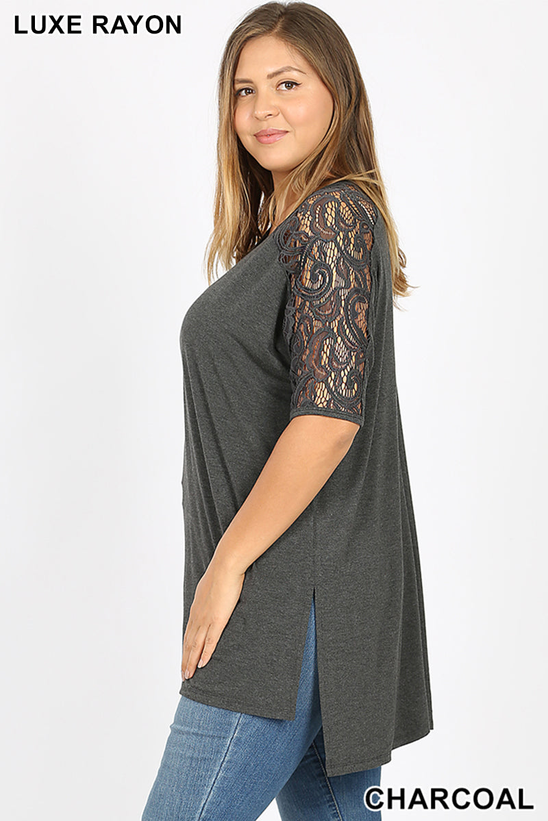 PLUS LUXE LACE TRIM SIDE SLIT HIGH-LOW HEM TOP - Zenana Outfitters Women's Clothing