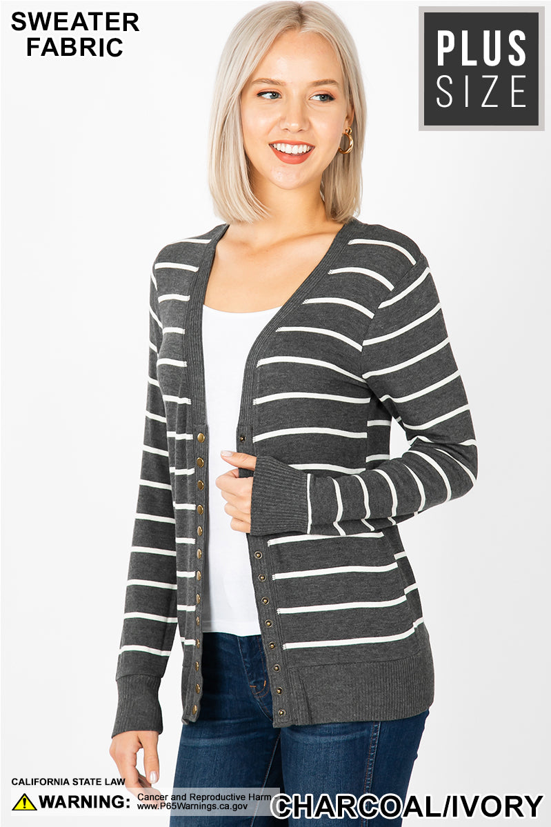 PLUS STRIPED STUDDED CARDIGAN SWEATER - Zenana Outfitters Women's Clothing