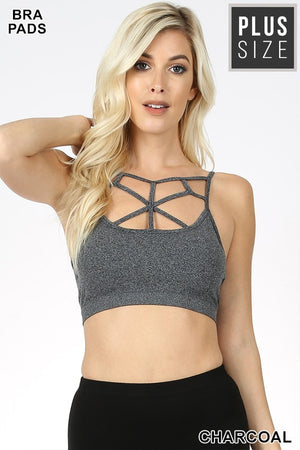 PLUS WEB DETAIL FRONT BRALETTE BRA PADS - Zenana Outfitters Women's Clothing
