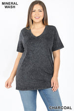 PLUS MINERAL WASHED SHORT SLEEVE V-NECK TOP - Zenana Outfitters Women's Clothing