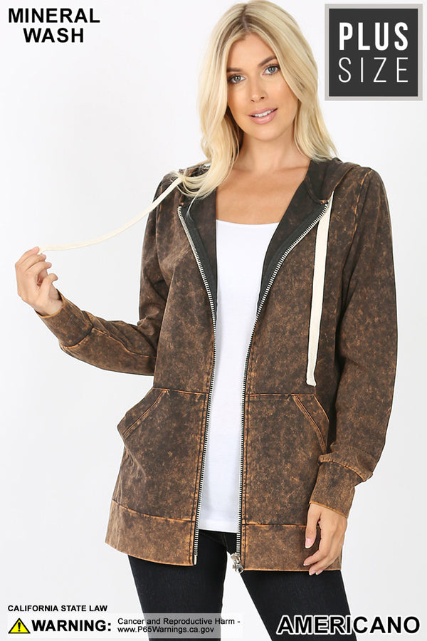 PLUS MINERAL WASH ZIPPERS HOODIE JACKET | Zenana Outfitters