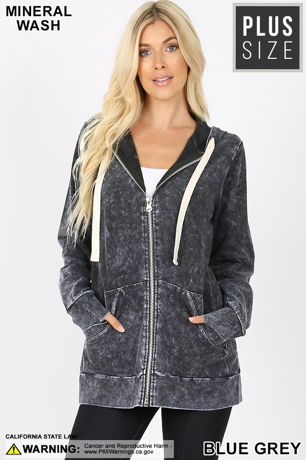 PLUS MINERAL WASH ZIPPERS HOODIE JACKET - Zenana Outfitters Women's Clothing