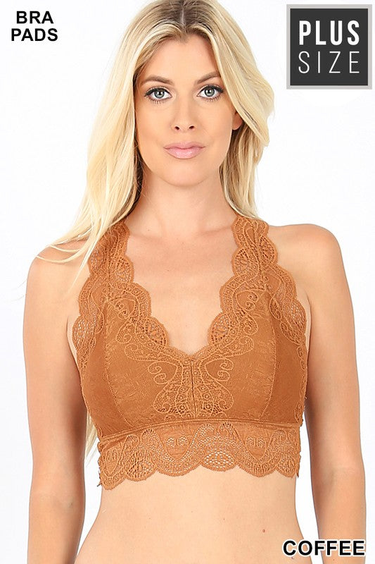 PLUS STRETCH LACE HOURGLASS BACK BRALETTE - Zenana Outfitters Women's Clothing