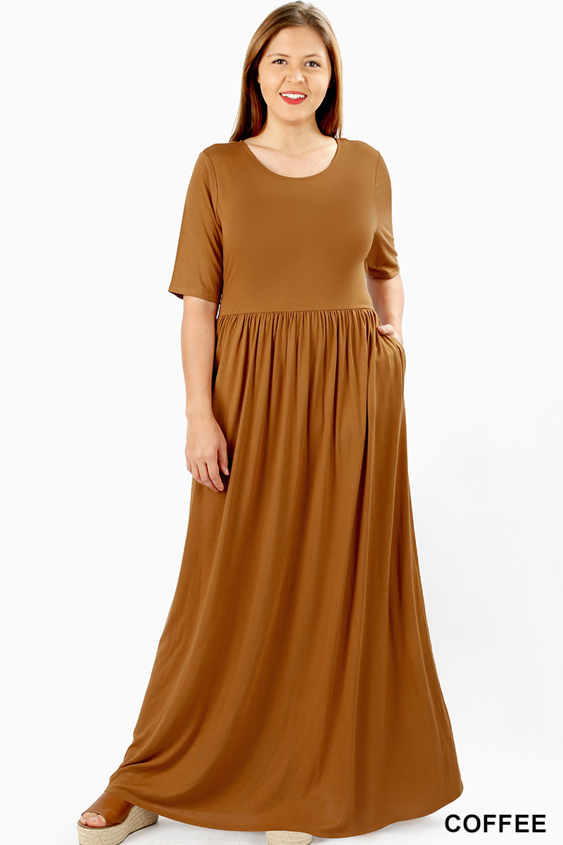 PLUS VISCOSE HALF SLEEVE MAXI DRESS