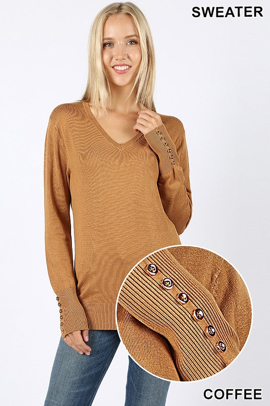 V-NECK GOLDEN BUTTONS DETAIL SWEATER