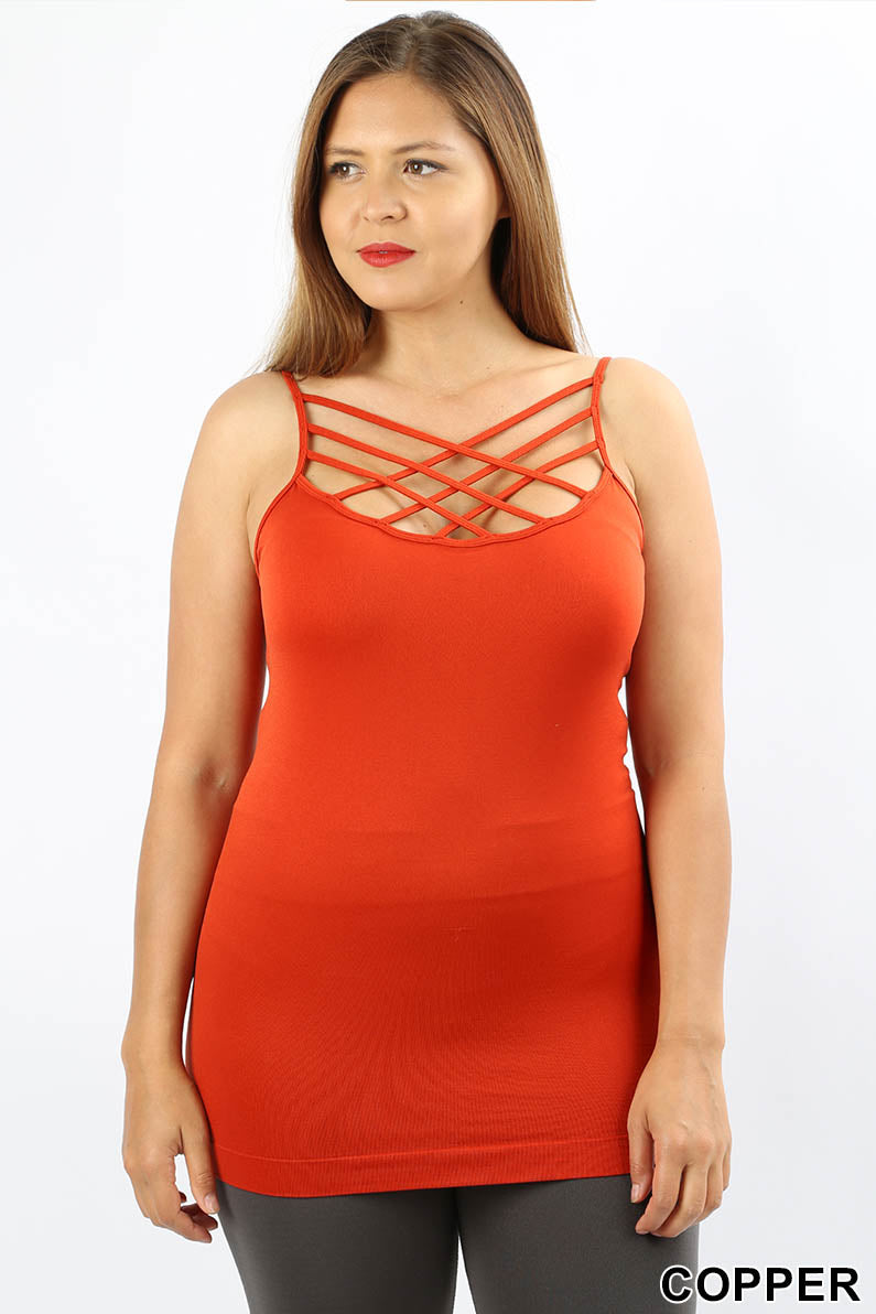 PLUS SEAMLESS TRIPLE CRISS-CROSS FRONT CAMI