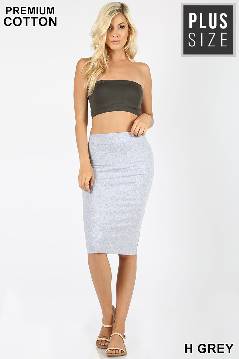 PLUS PREMIUM COTTON BASIC KNEE LENGTH SKIRT